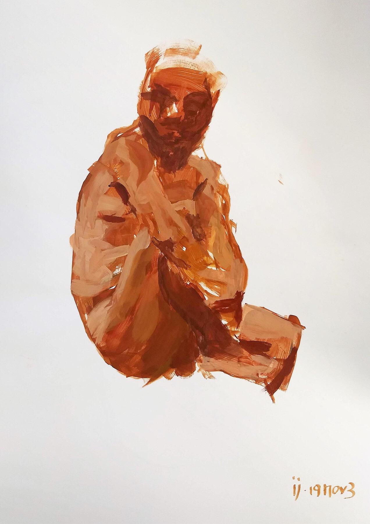 Desenho de um homem sentado abraçado em um dos joelhos