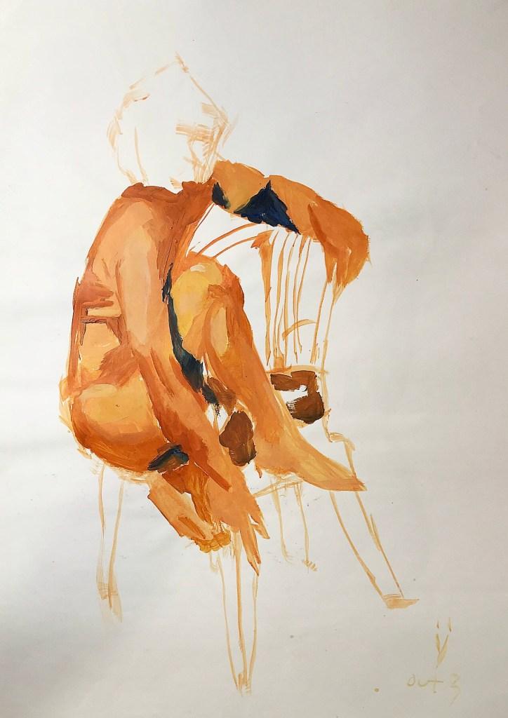 Pintura em acrílica de um homem sentado em uma cadeira de plástico, com os dois pés no assento