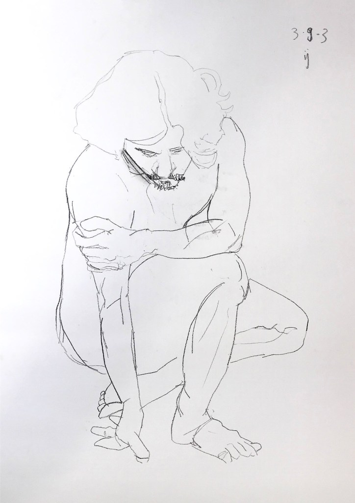 Desenho a crayon de um homem abaixado, com uma das mãos no chão
