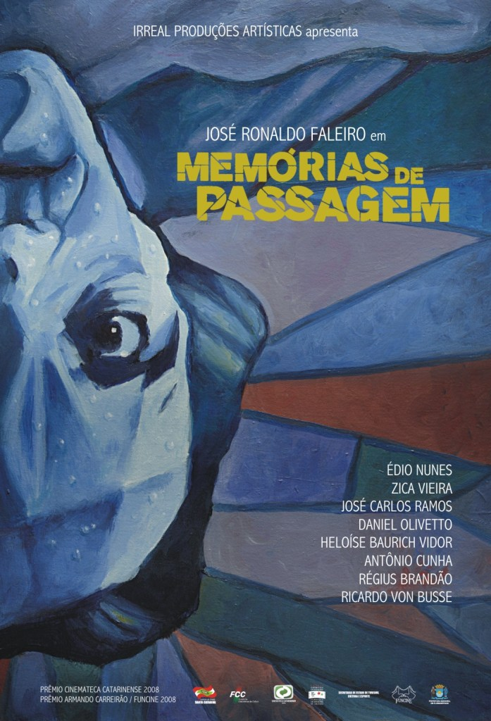 Cartaz com pintura representando um rosto pela metade, de ponta cabeça