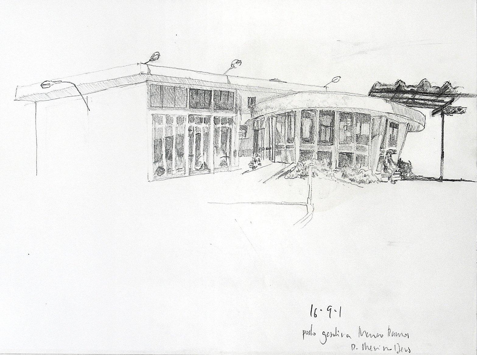 Desenho a lápis mostrando um posto de gasolina