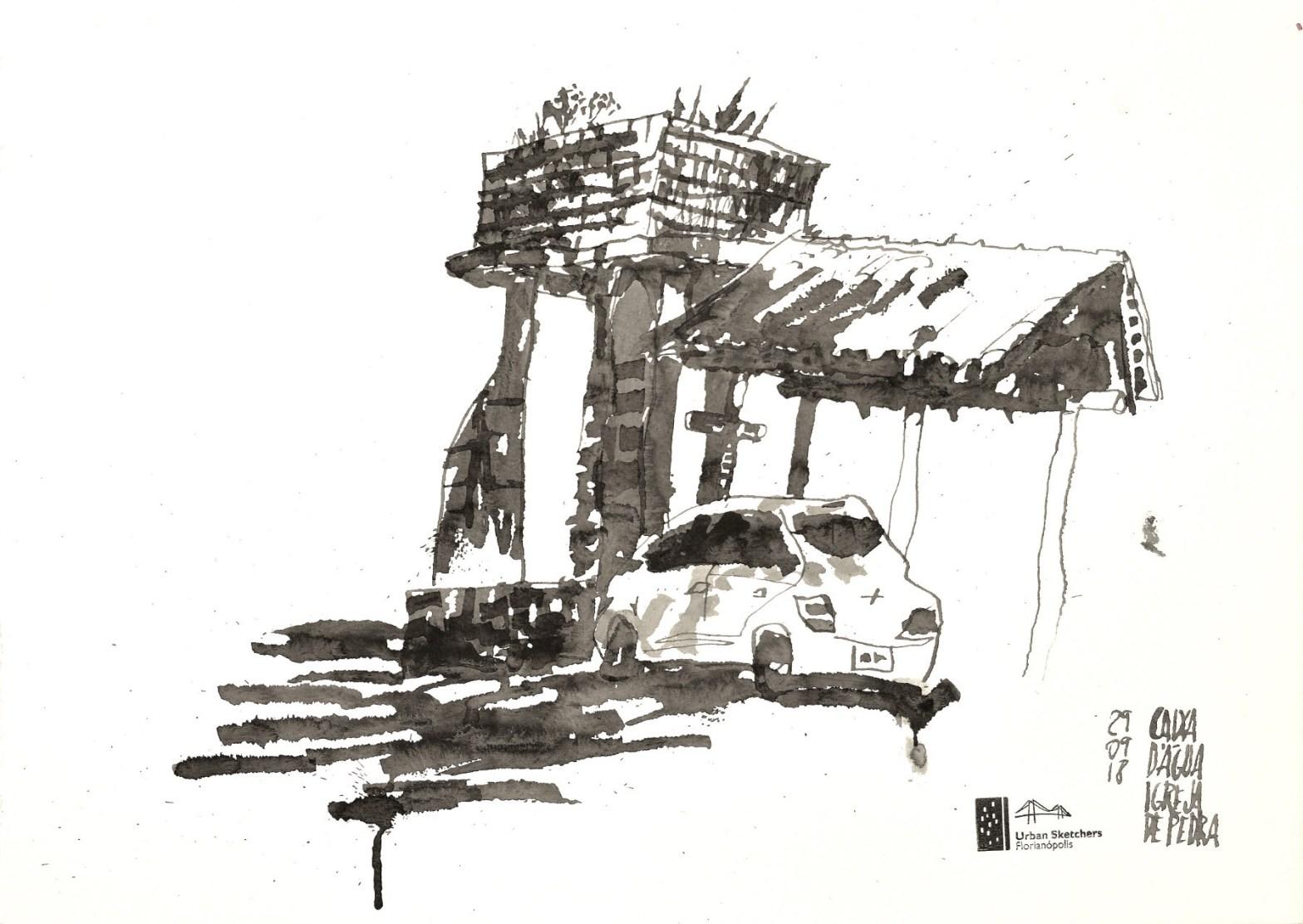 Desenho em tons de cinza mostrando uma caixa d'água, uma cobertura com telhas é um carro