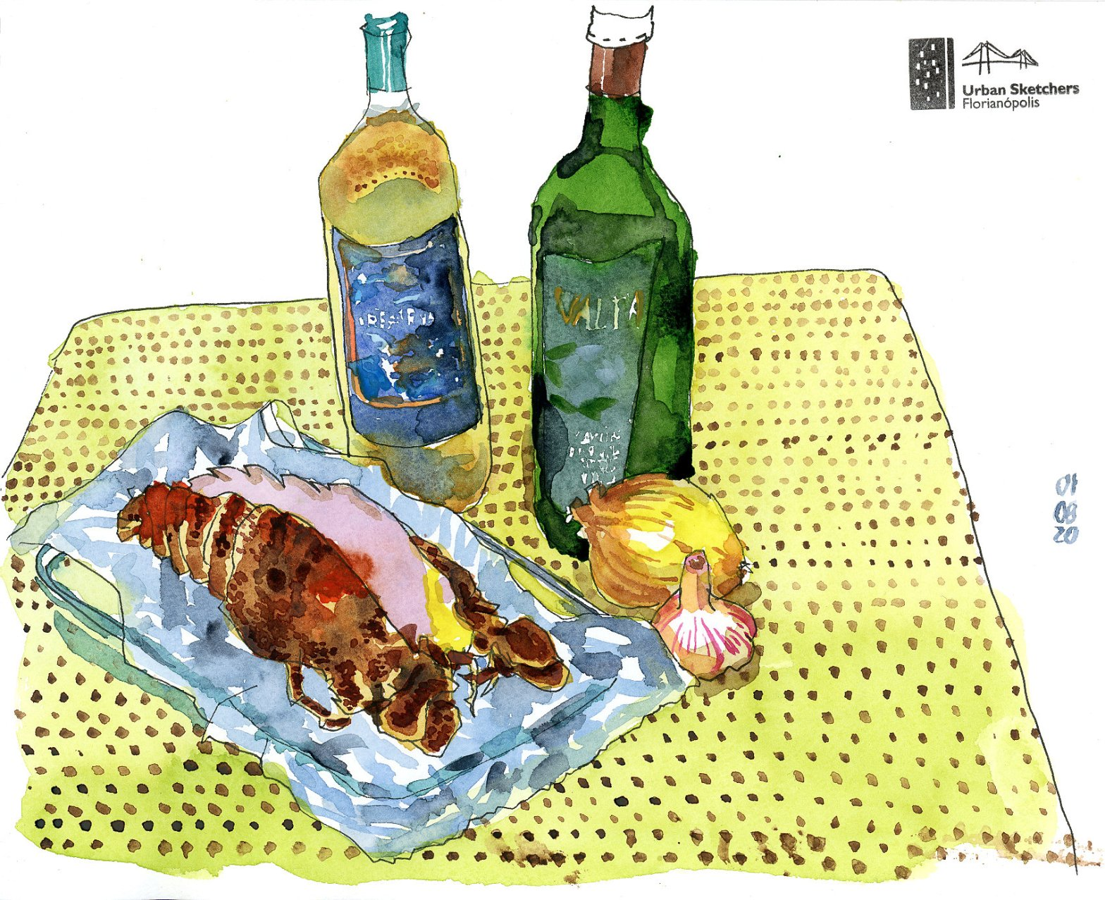 Desenho em aquarela de uma lagosta serrada ao meio com cebola, alho e duas garrafas ao fundo