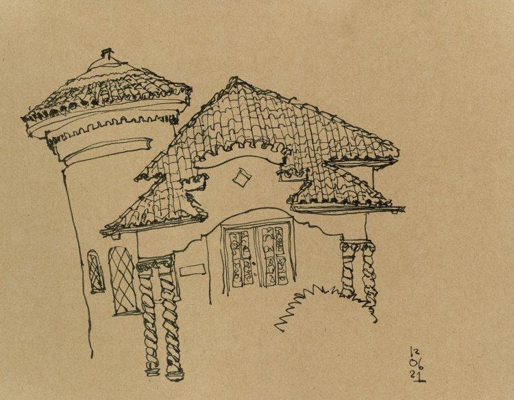 Desenho de casarão na rua Presidente Coutinho em traços pretos sobre papel pardo