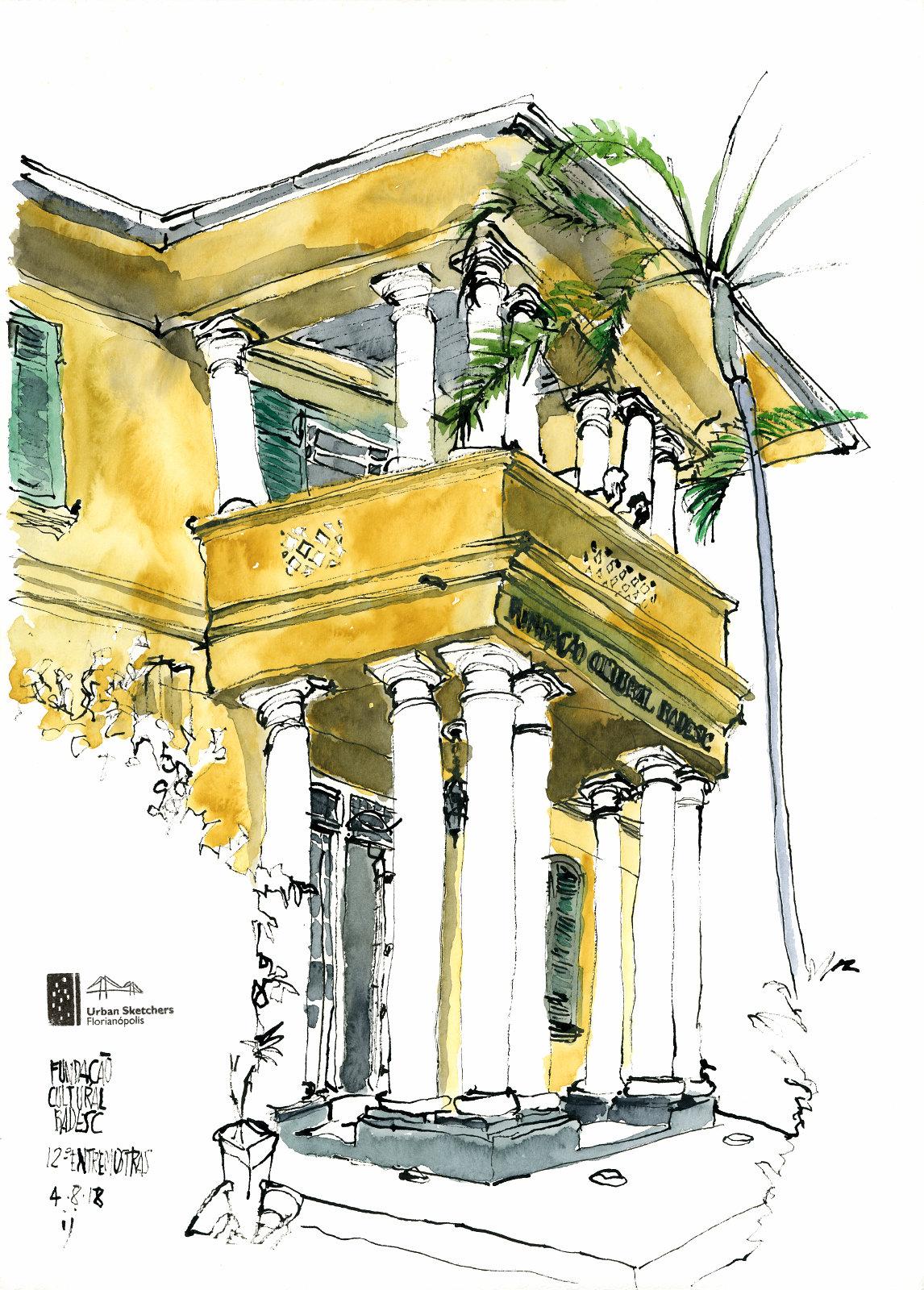 Desenho a traço colorido com aquarela da fachada da Fundação Cultural Badesc, mostrando o frontão com a sacada sustentada por colunas