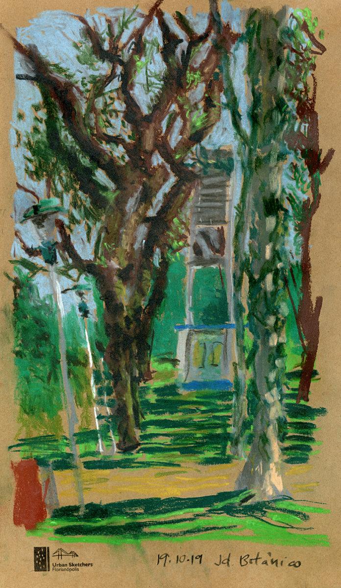 Pintura em pastel seco mostrando árvores em primeiro plano e caixa d'água ao fundo.