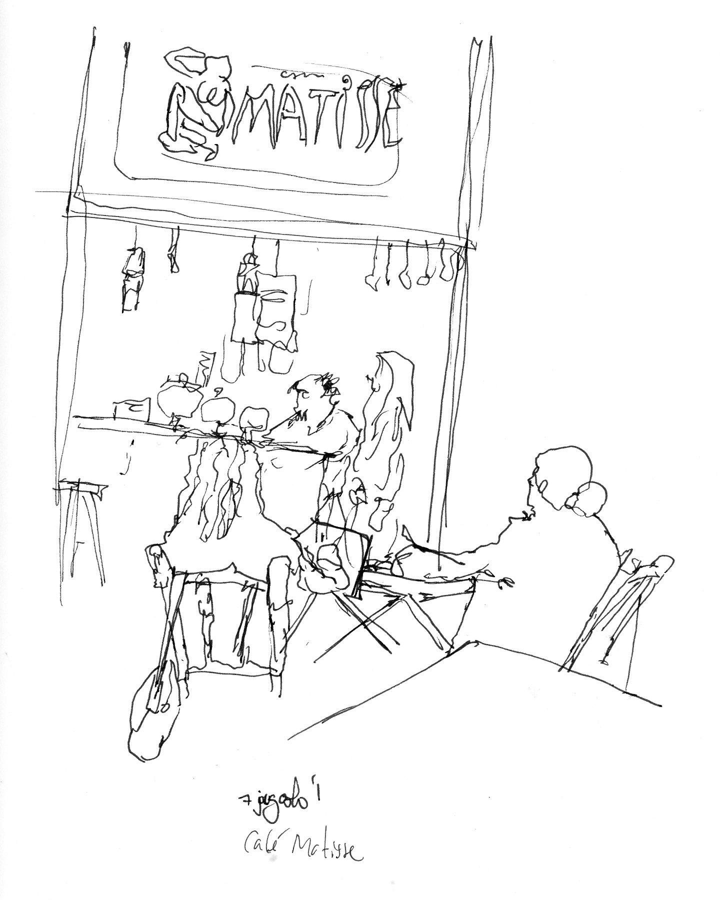 Desenho a traço mostrando pessoas sentadas nas mesas e a placa com o nome Matisse
