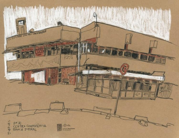 Desenho mostrando duas laterais do Centro de Convivência com a banca de jornal em primeiro plano