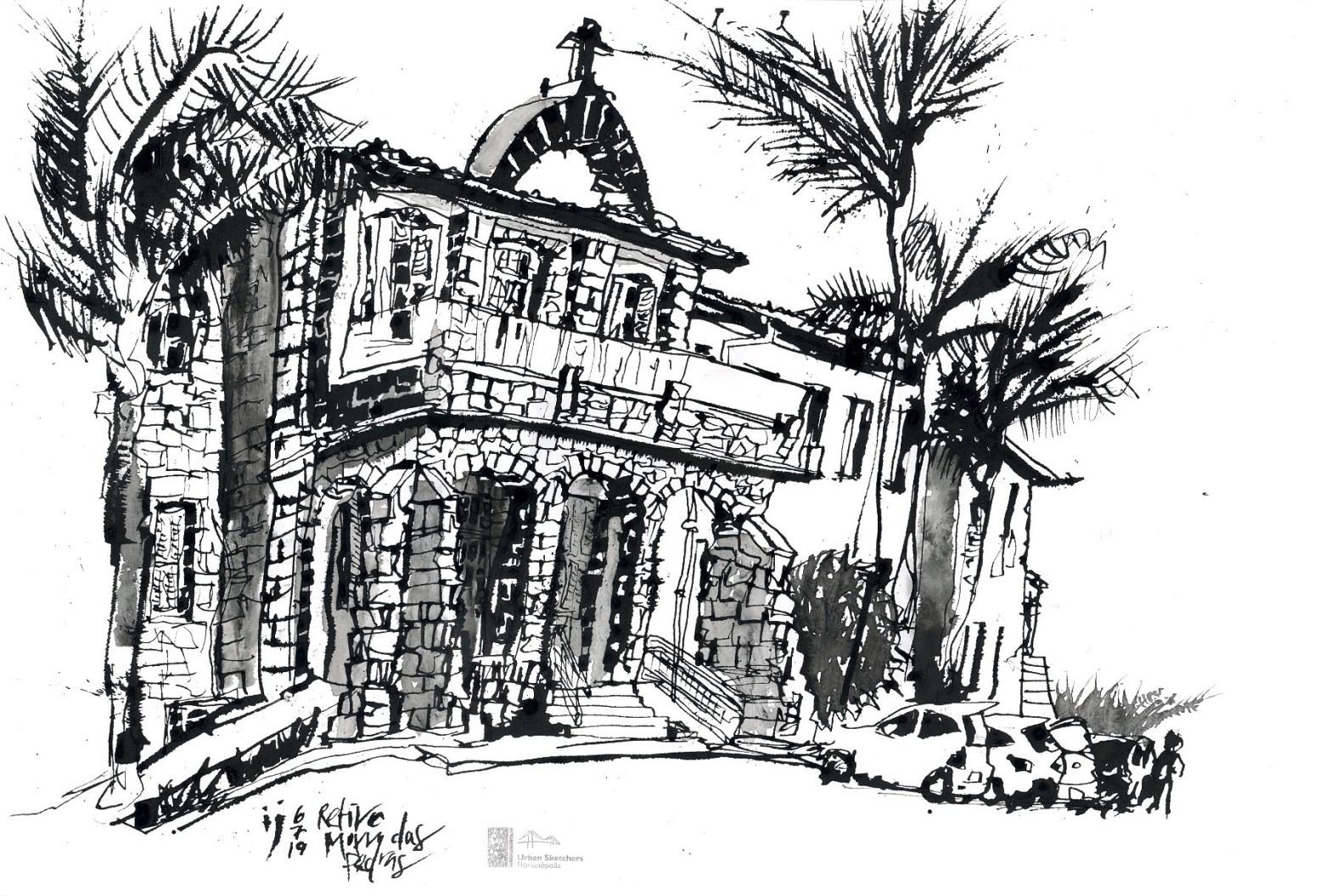Desenho a traço mostrando o retiro do Morro das Pedras, construção em pedras com arco no telhado, onde há um cruz