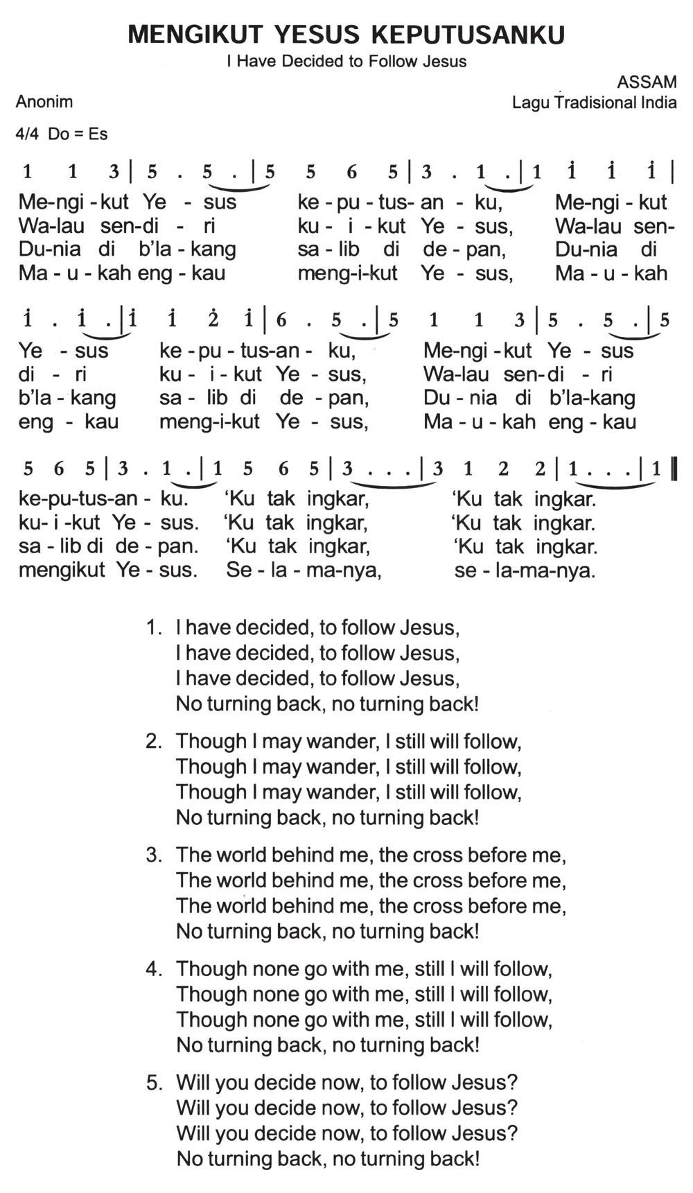 Chord Mengikut Yesus : chord, mengikut, yesus, Mengikut, Yesus, Keputusanku, Decided, Follow, Jesus, Partitur, Angka, Excellent, Future