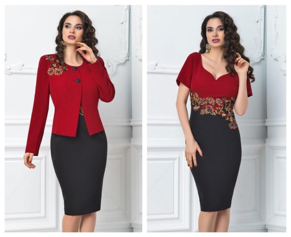 costume-dama-elegante-de-toamna-sacou-rosu-rochie-negru-cu-rosu