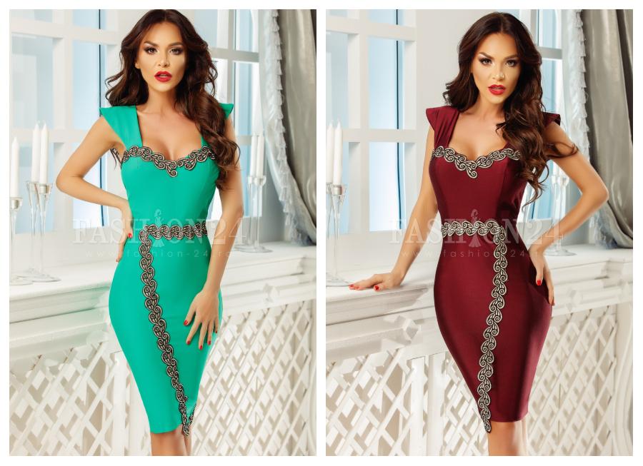 modele-rochii-elegante-de-ocazie-verzi-turcoaz-grena-pana-la-genunchi-midi