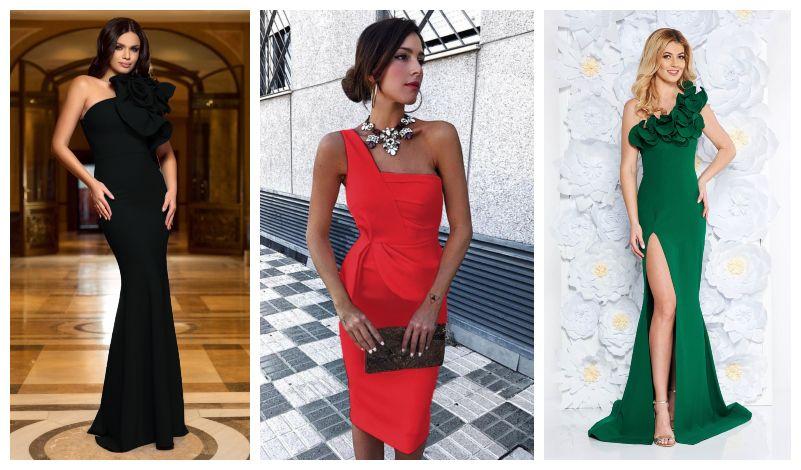 35 Modele rochii pe un umar lungi si scurte de vanzare online