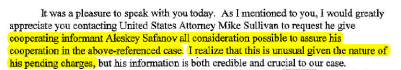 Garst's 2005 letter to U.S. Attorney requesting Safanov's consideration for testifying.
