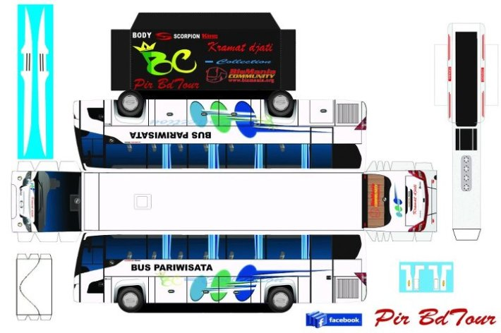 Pola Papercraft Bus Indonesia  mr_ivan