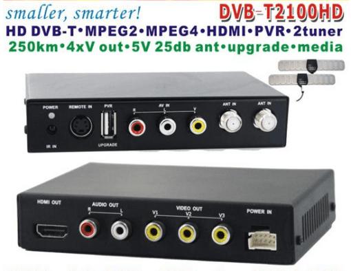 DVB-T2100HD Car DVB-T MPEG4 H.264 tv receiver with 2 tuner PVR USB Record 1