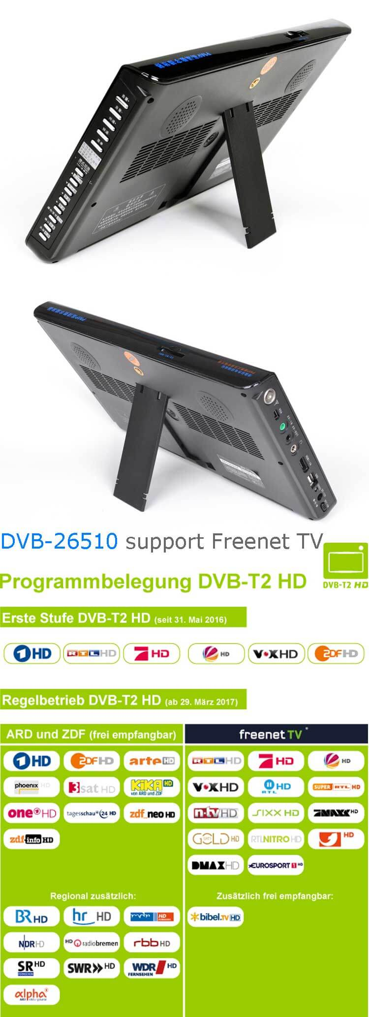 10 DVB-T2 H265 HEVC AC3 Codec Portable TV PVR Multimedia Player Analog kitchen bedroom car DVB-T26510 14