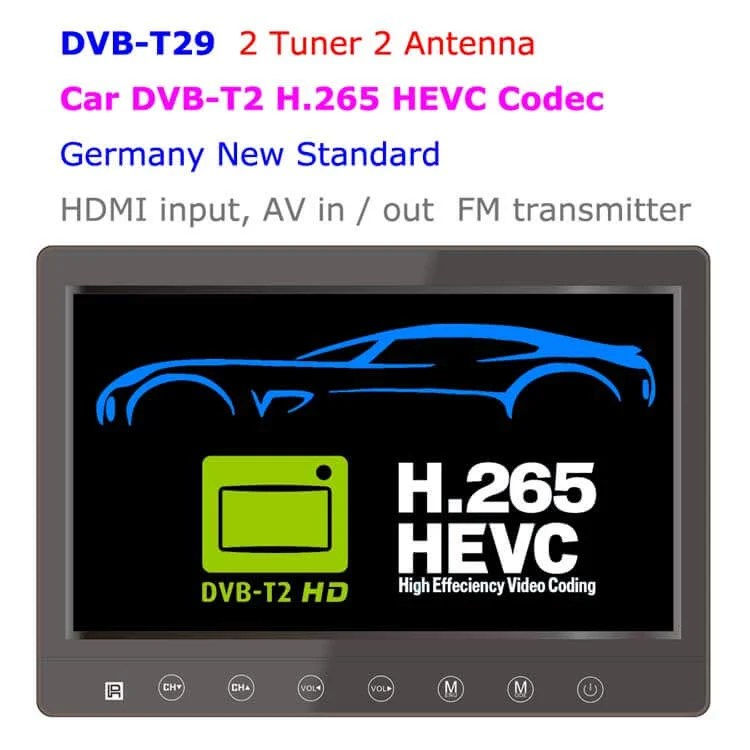 DVB-T29 9 inch portable DVB-T2 LCD TV monitor 2017 HD FTA Freenet H265 HEVC Codec