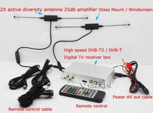 DVB-T2H Car DVB-T2 DVB-T USB HDMI HDTV tuner 2 active antenna high speed 4
