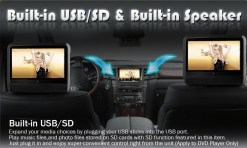 9 inch Headrest DVD touch screen USB SD Game MP5 player, IR FM 2 Speaker, 8-32 bits Game 10