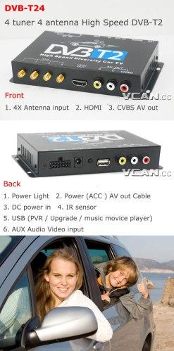Car DVB-T2 TV Receiver 4 Tuner 4 Antenna USB HDMI HDTV Russia High Speed 9