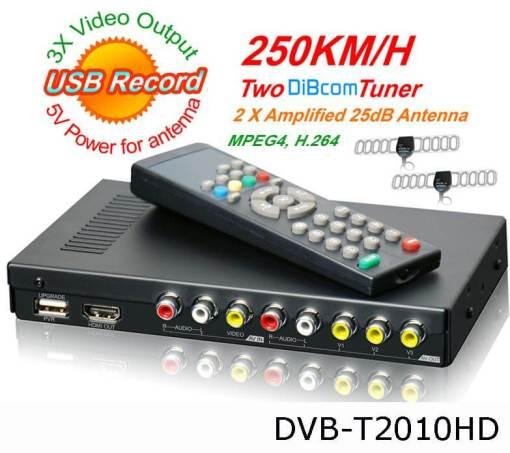 Car DVB-T Receiver MPEG4 H.264 2 tuner 2 diversity antenna Booster Recorder DVBT 1