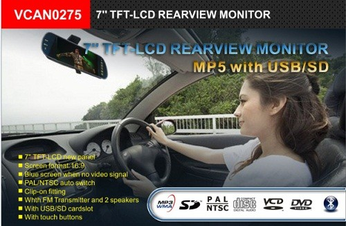 7inch Rearview Mirror Monitor Support MP5 Bluetooth 5