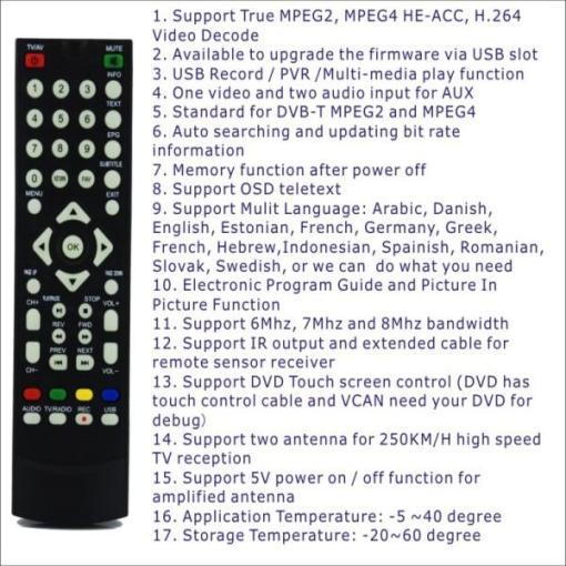 DVB-T2100HD Car DVB-T MPEG4 H.264 2 tuner Digital TV receiver 2 tuner 2 antenna 6