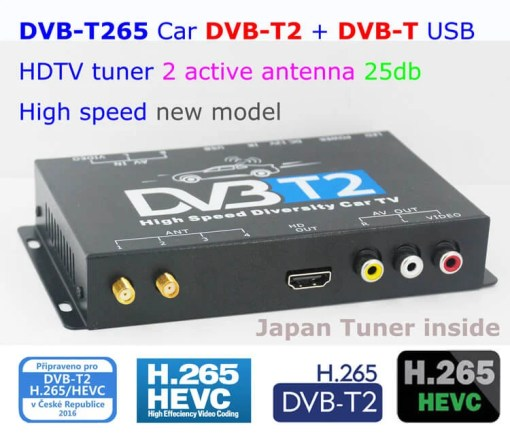 Germany DVB-T2 H265 HEVC 2017 New Model DVB-T265 automobile digital car dvb-t2 tv receiver 2