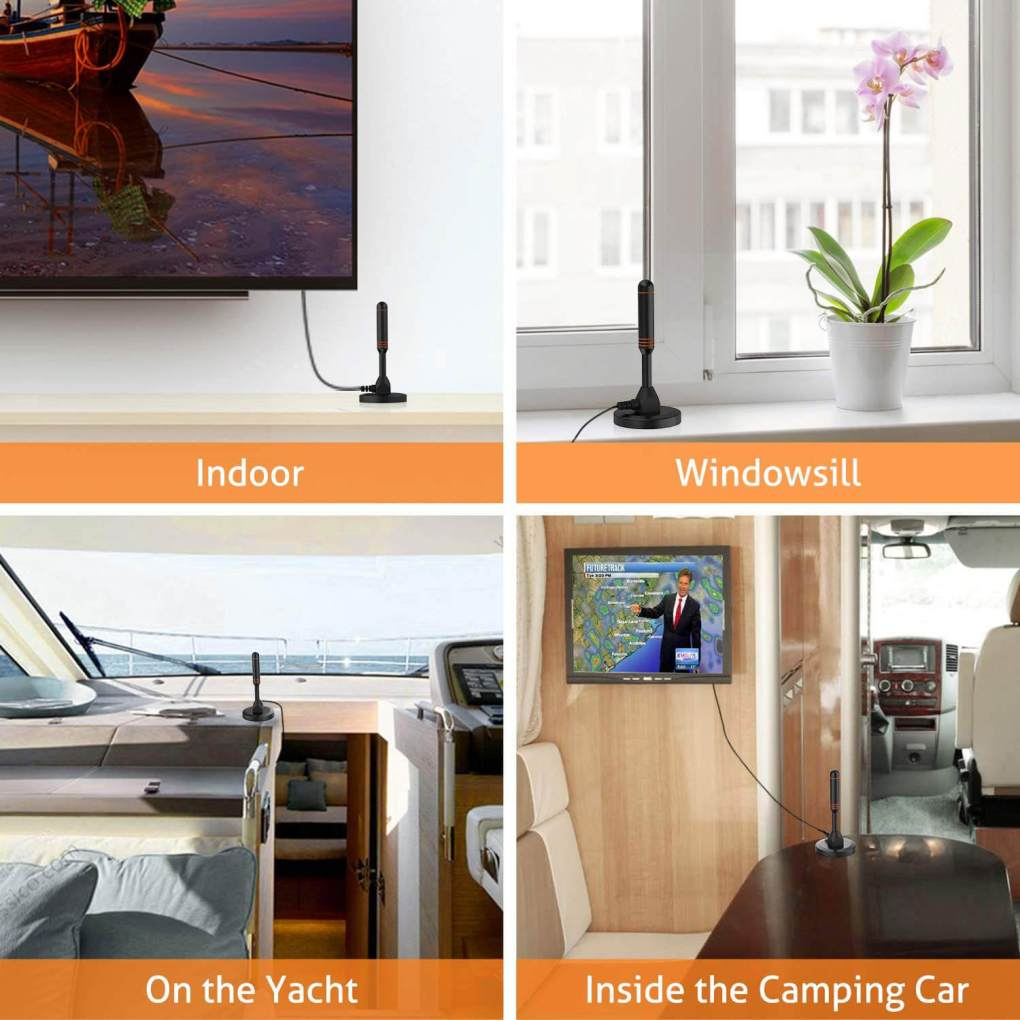 Indoor Portable Digital TV Antenna, 30 dB High Gain Indoor TV Antenna-Antenna Mast for DTT / DTMB, DVB-T, ATSC, DMB-T USB Receiver, Portable with Stable Magnetic Base 13