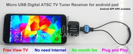 ATSC USB TV stick mobile phone use tuner USA Canada Mexico micro usb android phone pad ATSC-77 1