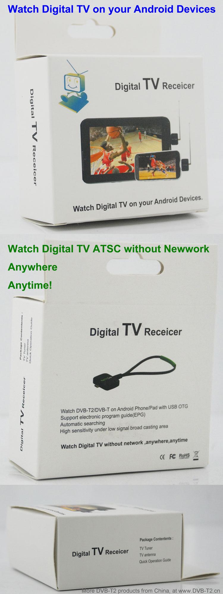 ATSC USB TV stick mobile phone use tuner USA Canada Mexico micro usb android phone pad ATSC-77 16