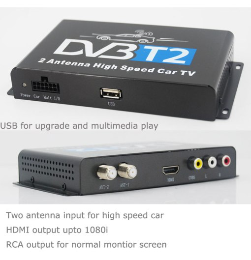 Car DVB-T2 H265 HEVC Codec Digital TV Receiver Auto Mobile Germany Standard 2 antenna H264 HD for all dvb country 7