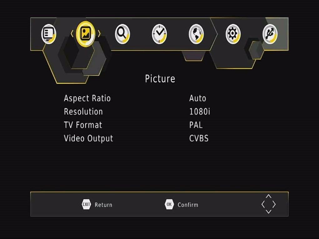 DVB-T265 Picture OSD menu
