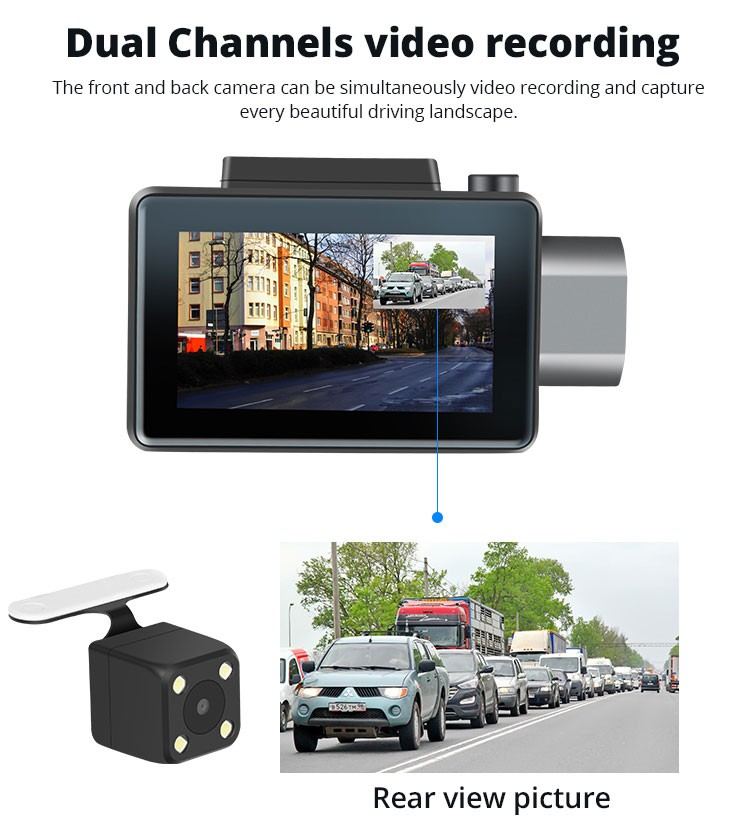 Android DVR dashcam car camera 3.0 inch full 1080 HD GPS logger dual camera video recorder Vcan1608 20