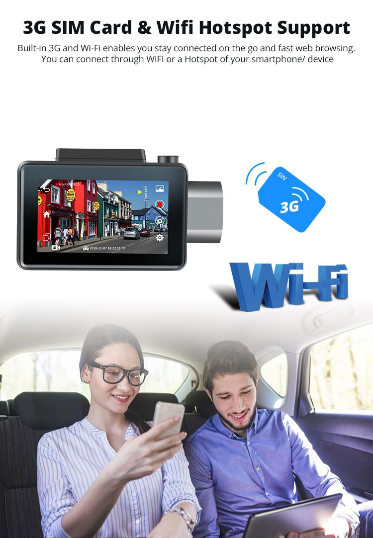 Android DVR dashcam car camera 3.0 inch full 1080 HD GPS logger dual camera video recorder Vcan1608 19