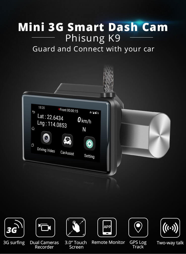 Android Dash Cam Car DVR Camera GPS Logger 3G WiFi Dual Lens WDR Video Recorder 5.1 Rearview camera Vcan1608 12