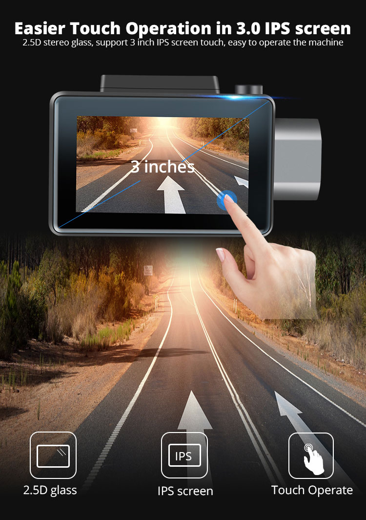 Android DVR dashcam car camera 3.0 inch full 1080 HD GPS logger dual camera video recorder Vcan1608 11