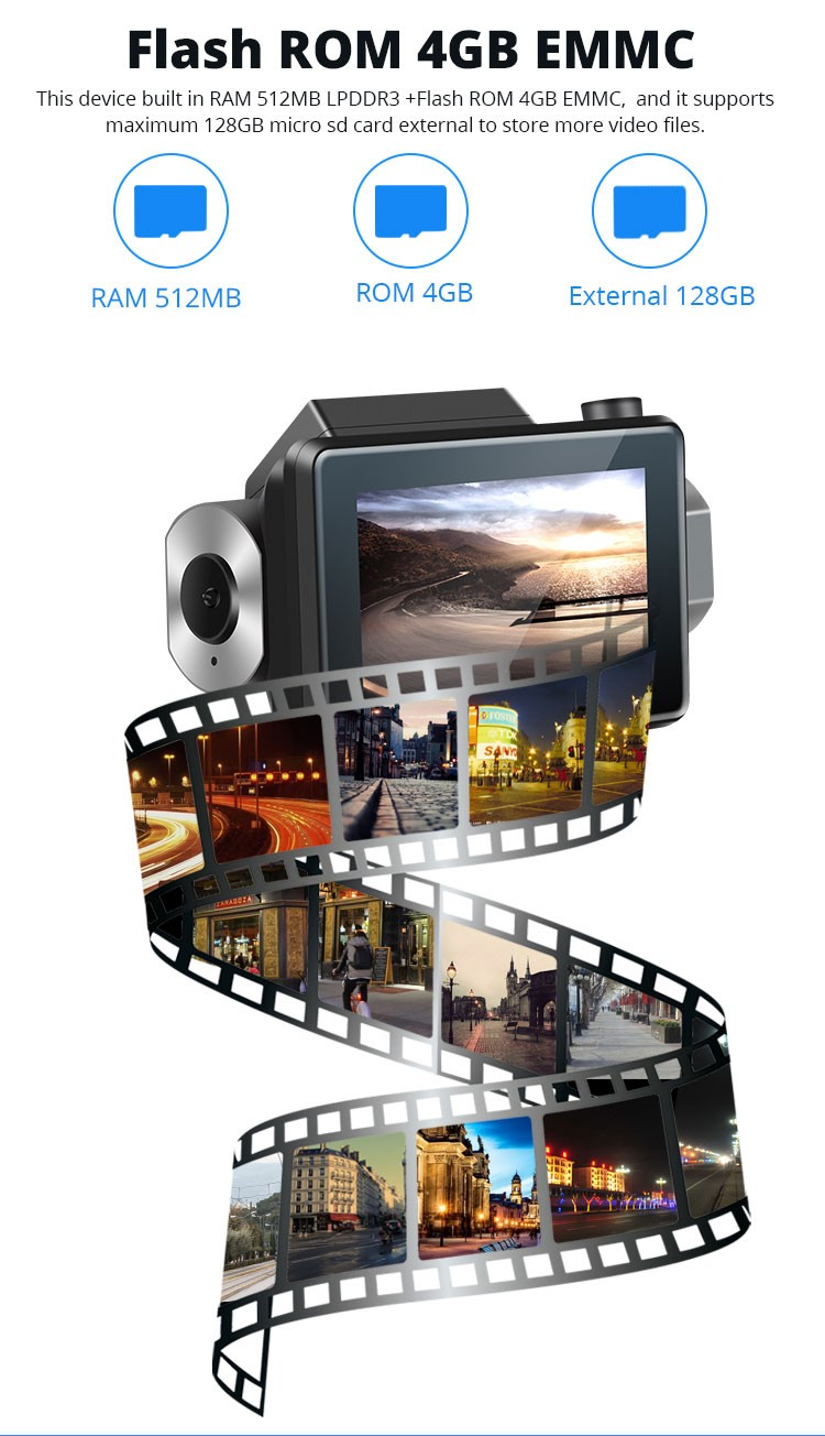 Android DVR dashcam car camera 3.0 inch full 1080 HD GPS logger dual camera video recorder Vcan1608 1