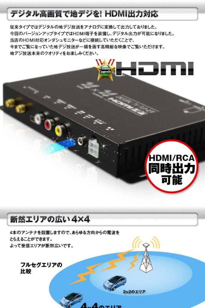4x4 terrestrial digital tuner FT44F 4×4地デジチューナー 1