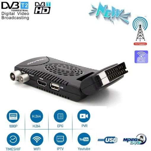 DVB-T2 H265 Scart TV Tuner Box Digital Terrestrial Receptor WIFI Receiver Youtube Set Top Box 1080P IPTV Box 1