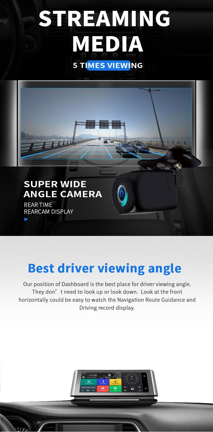 4G DVR Android 8 WIFI GPS Car rearview camera 6.86 inch GPS G-sensor Auto Recorder Dashboard 2+32GB  1