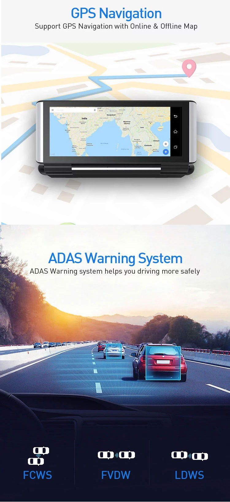 4G DVR Android 8 WIFI GPS Car rearview camera 6.86 inch GPS G-sensor Auto Recorder Dashboard 2+32GB  3