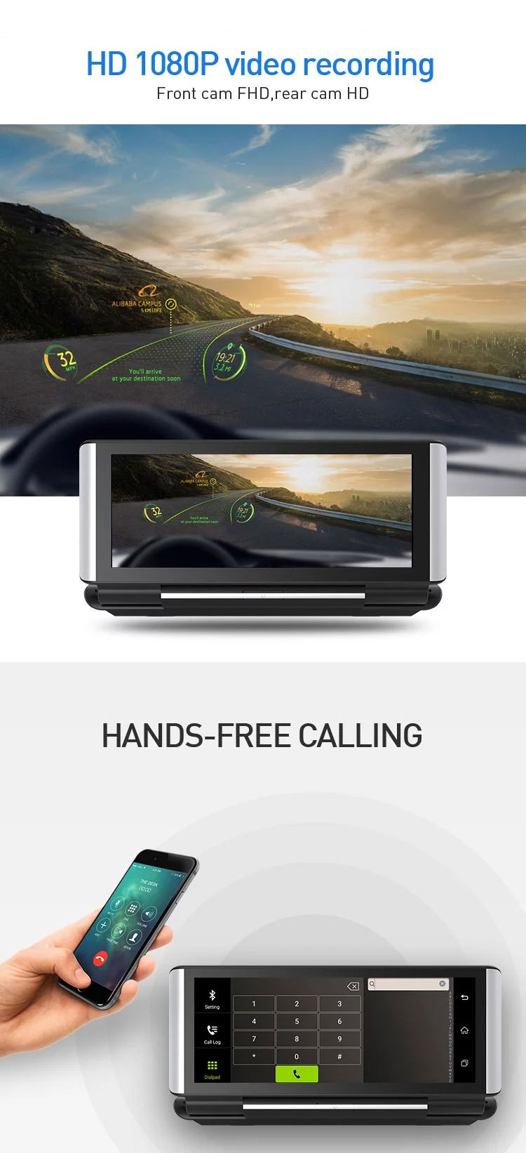 4G DVR Android 8 WIFI GPS Car rearview camera 6.86 inch GPS G-sensor Auto Recorder Dashboard 2+32GB  4