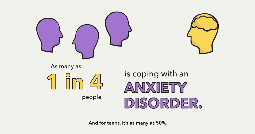 As many as 1 in 4 people is coping with an anxiety disorder.