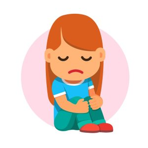 Sad girl sitting and unhappily hugging her knees. Flat style vector cartoon illustration isolated on white background.