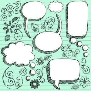 3d sketchy speech bubbles