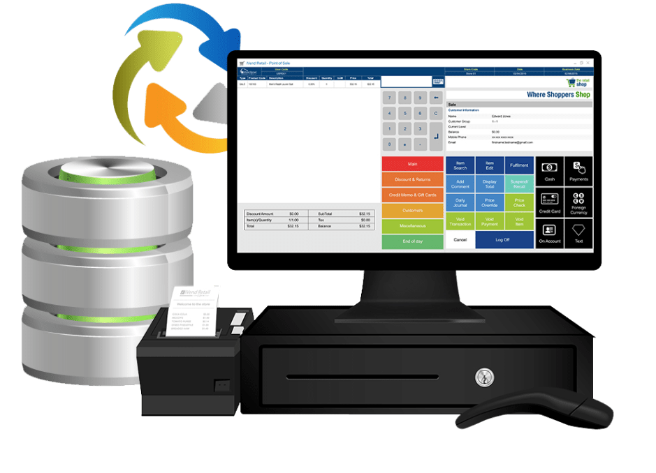 An iVend POS terminal syncing data with an ERP system
