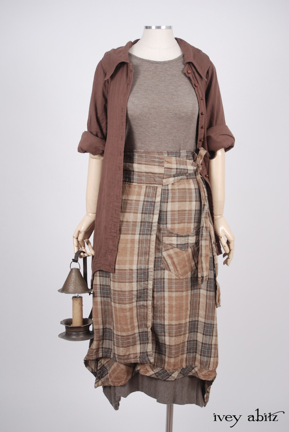 Ivey Abitz - Chittister Shirt Jacket in Blushed Double Layered Voile  - Coulson Frock in Flaxseed Featherlight Knit, High Water Length - Highlands Skirt in Eternal Spring Plaid Linen