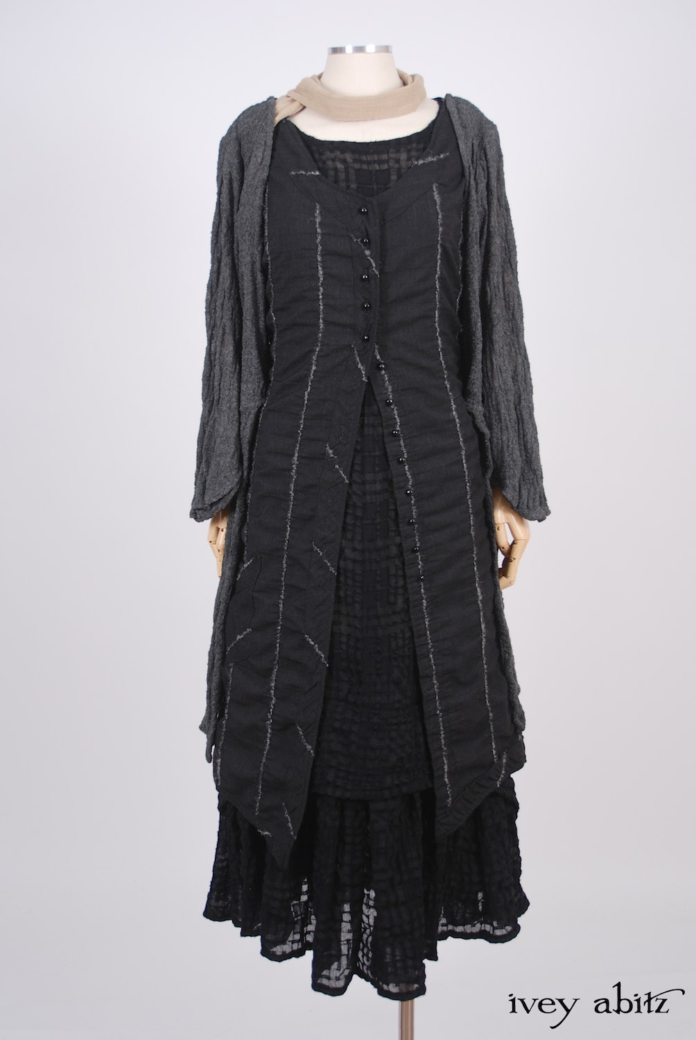 Ivey Abitz - Highbridge Duster Coat in Sparrow Grey Open Weave Knit  - Blanchefleur Sash in Blushed Plaid Voile - Highlands Frock in Blackbird Embroidered Striped Challis - Blanchefleur Frock in Blackbird Plaid Challis - Cilla Slip Frock in Dove Striped Voile, Flood Length